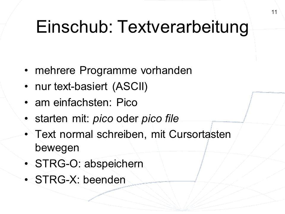 Einschub: Textverarbeitung