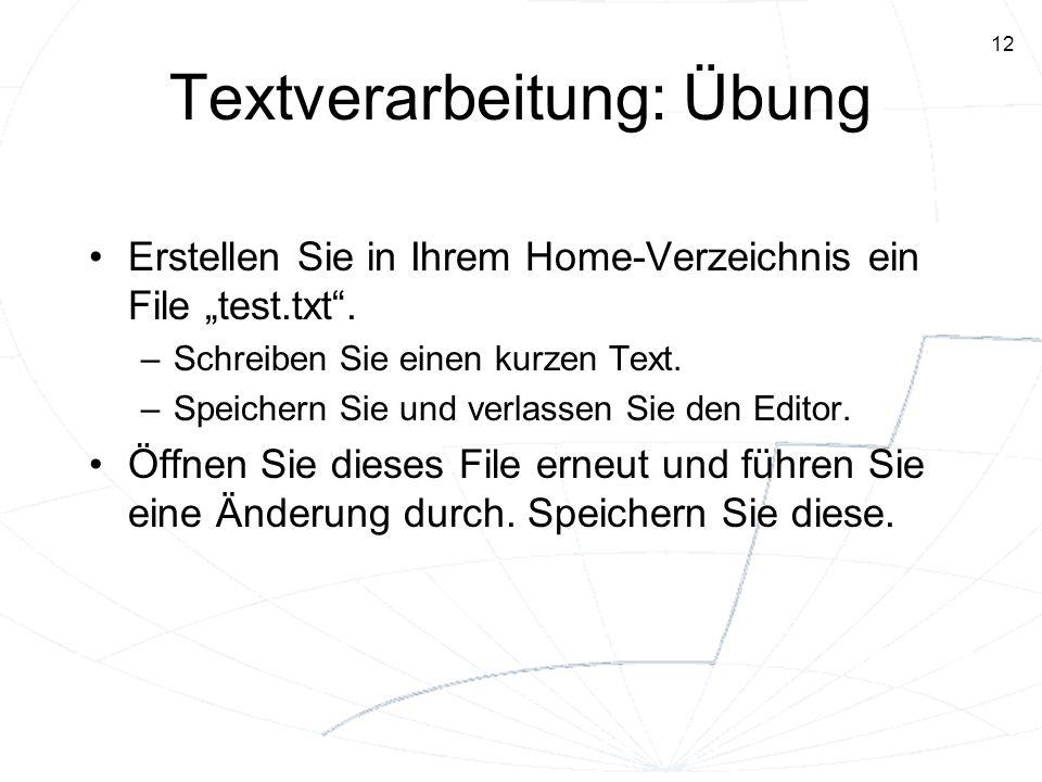 Textverarbeitung: Übung