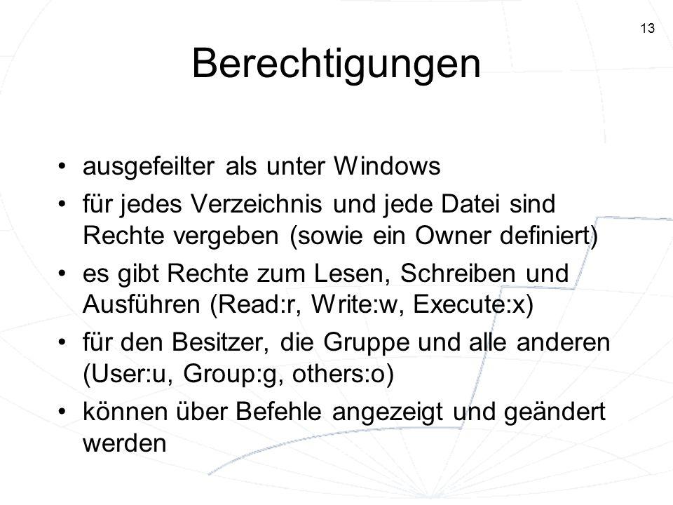 Berechtigungen ausgefeilter als unter Windows