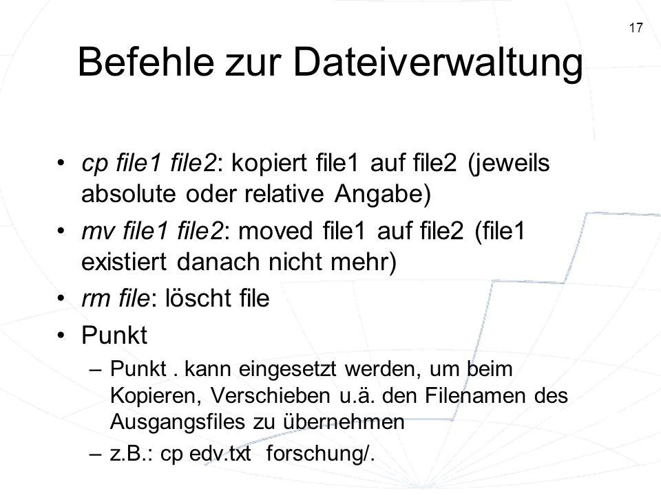 Befehle zur Dateiverwaltung