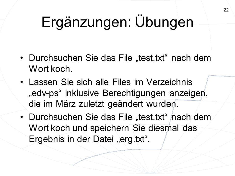 """Ergänzungen: Übungen Durchsuchen Sie das File """"test.txt nach dem Wort koch."""