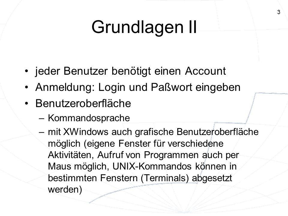 Grundlagen II jeder Benutzer benötigt einen Account