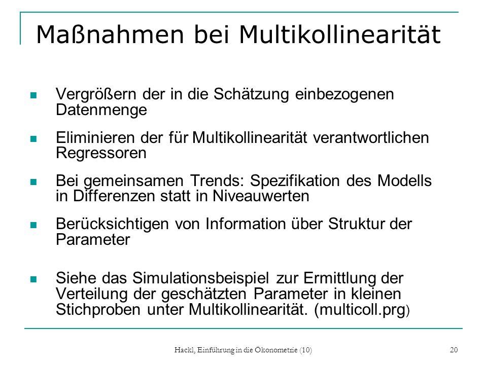Maßnahmen bei Multikollinearität