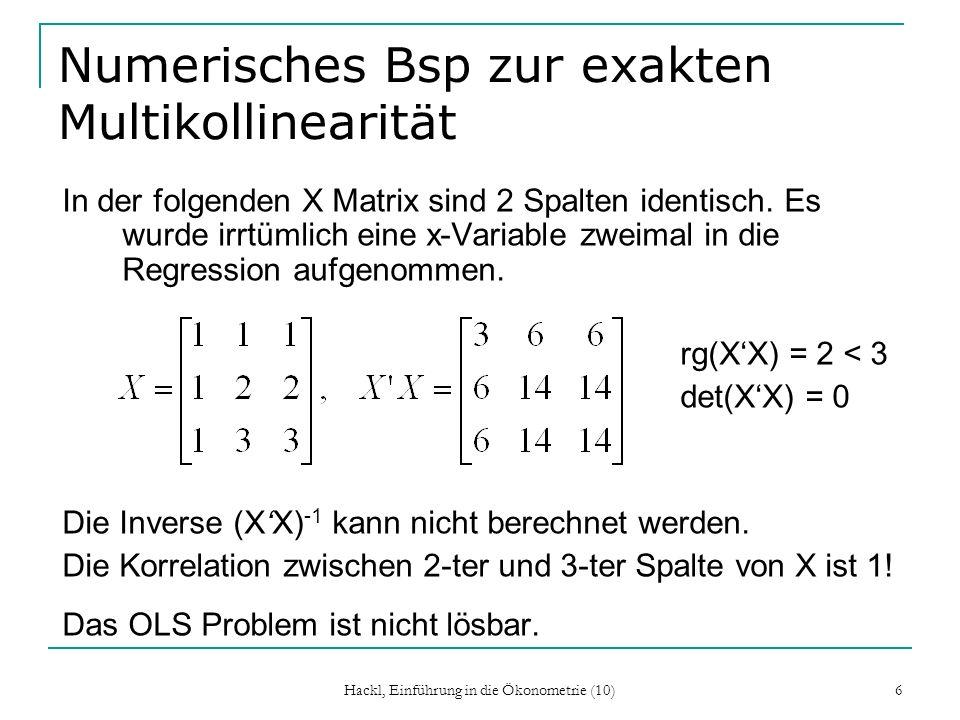 Numerisches Bsp zur exakten Multikollinearität