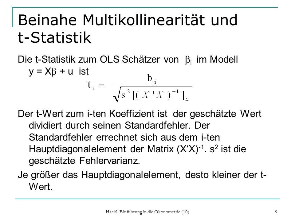 Beinahe Multikollinearität und t-Statistik