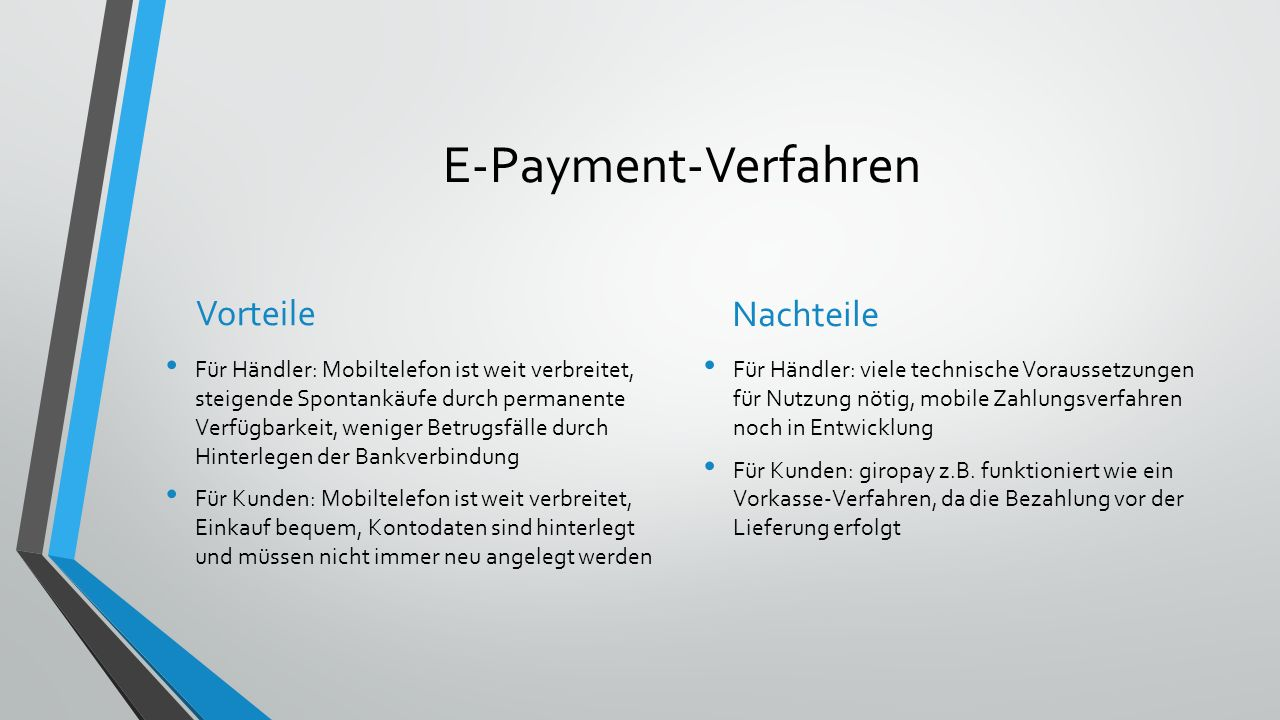E-Payment-Verfahren Vorteile Nachteile