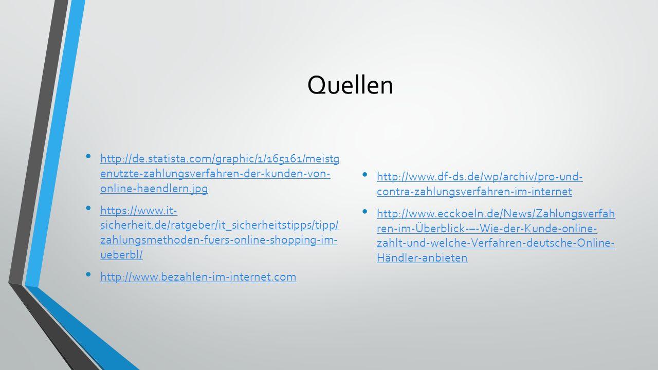 Quellen http://de.statista.com/graphic/1/165161/meistg enutzte-zahlungsverfahren-der-kunden-von- online-haendlern.jpg.