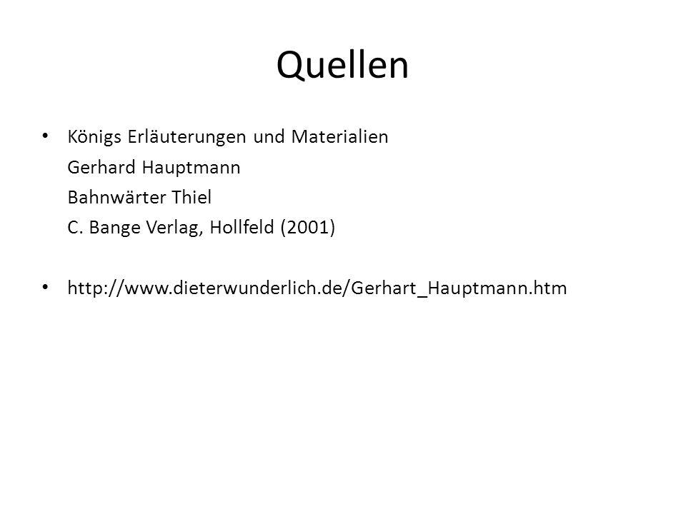 Quellen Königs Erläuterungen und Materialien Gerhard Hauptmann