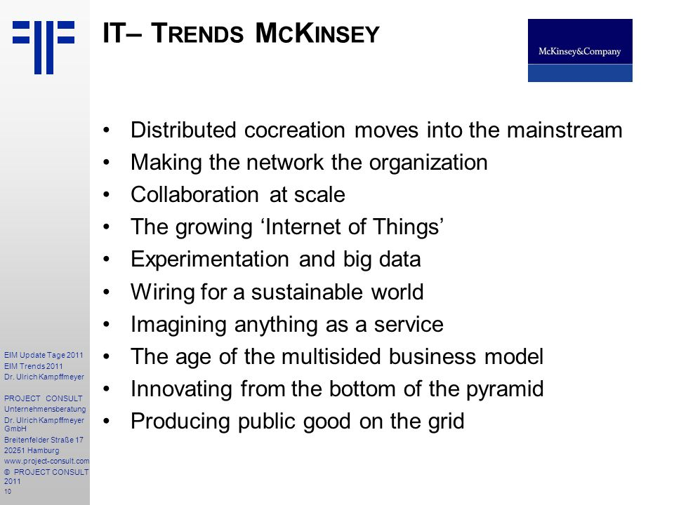 IT– Trends McKinsey Distributed cocreation moves into the mainstream