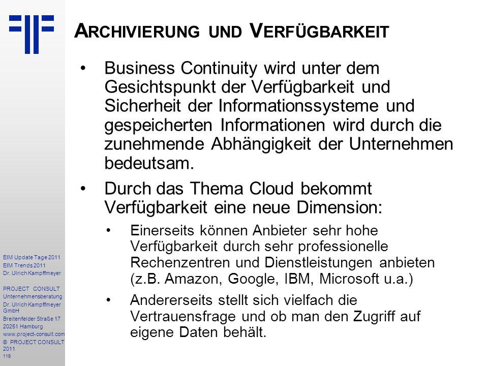 Archivierung und Verfügbarkeit