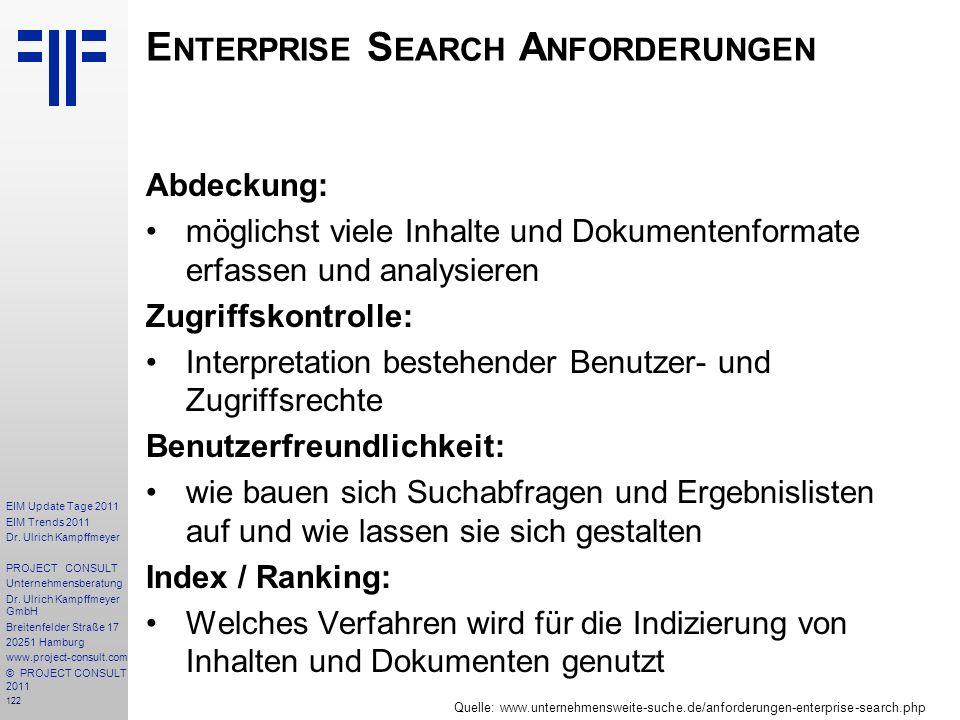 Enterprise Search Anforderungen
