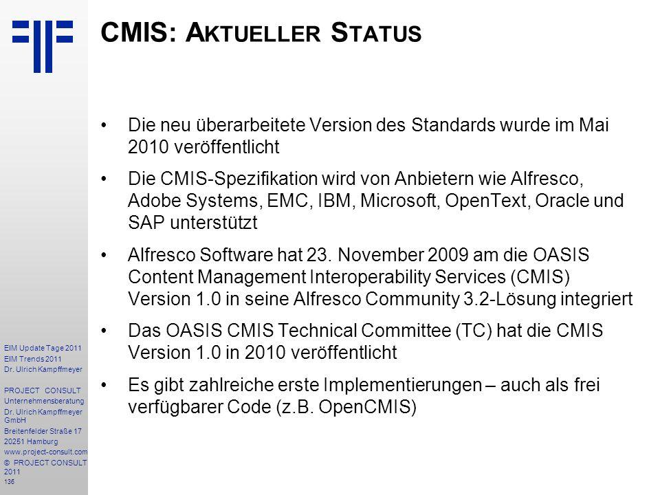 CMIS: Aktueller Status