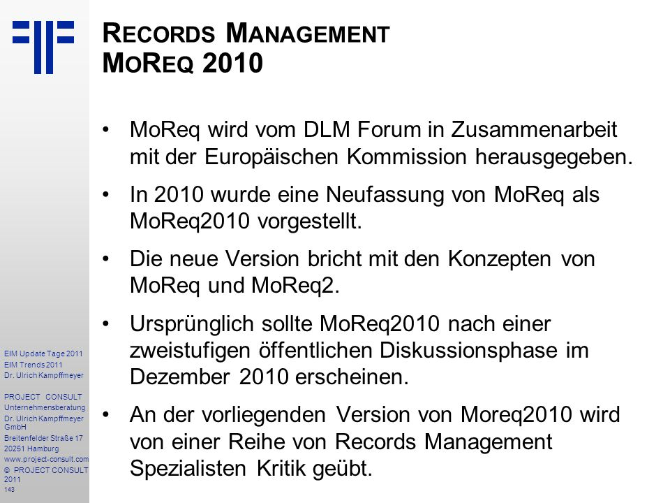 Records Management MoReq 2010