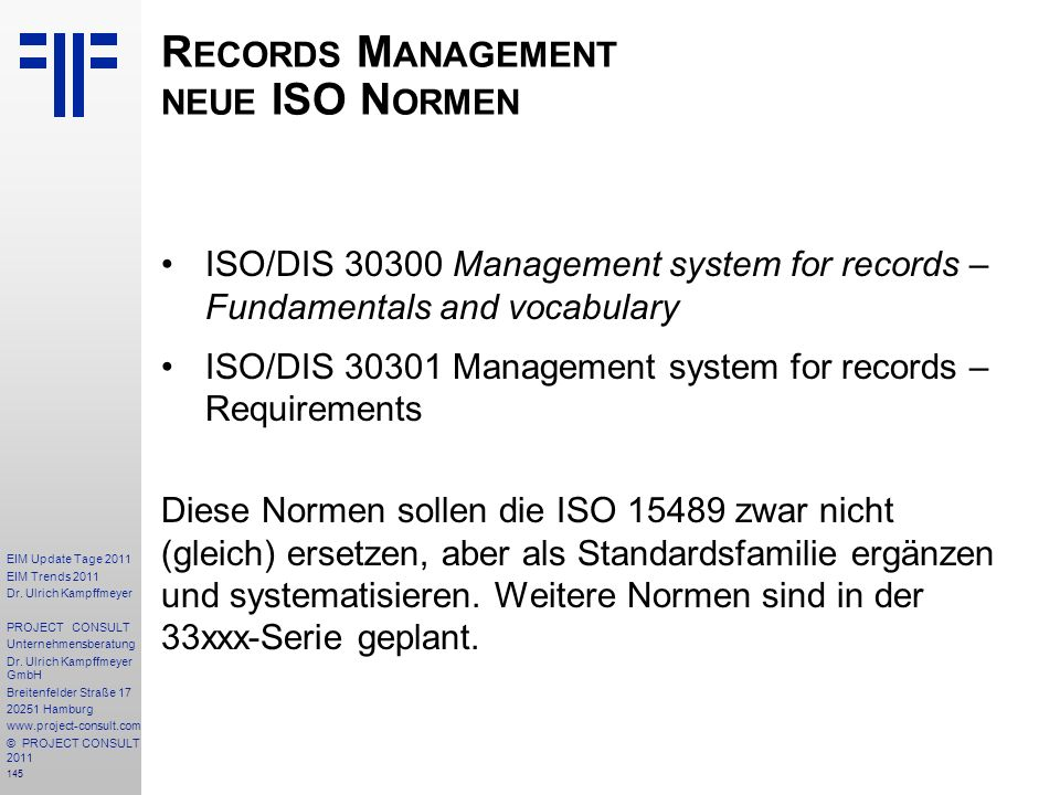 Records Management neue ISO Normen