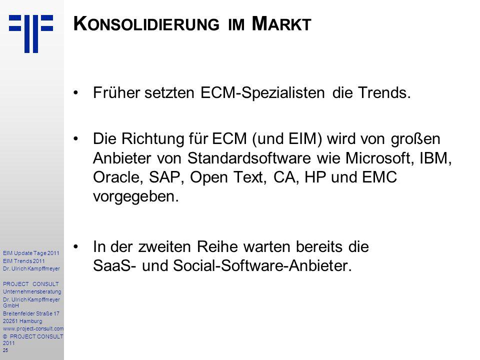 Konsolidierung im Markt