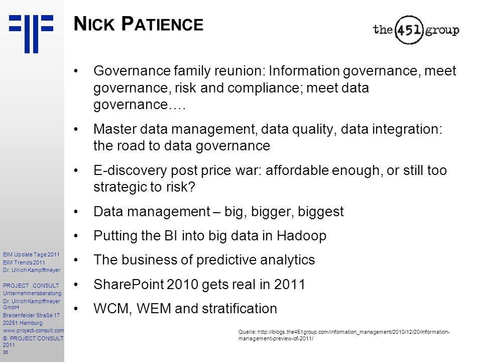 Nick Patience Governance family reunion: Information governance, meet governance, risk and compliance; meet data governance….