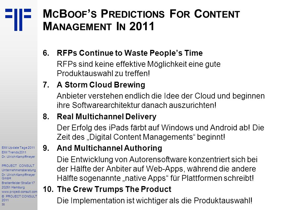 McBoof's Predictions For Content Management In 2011