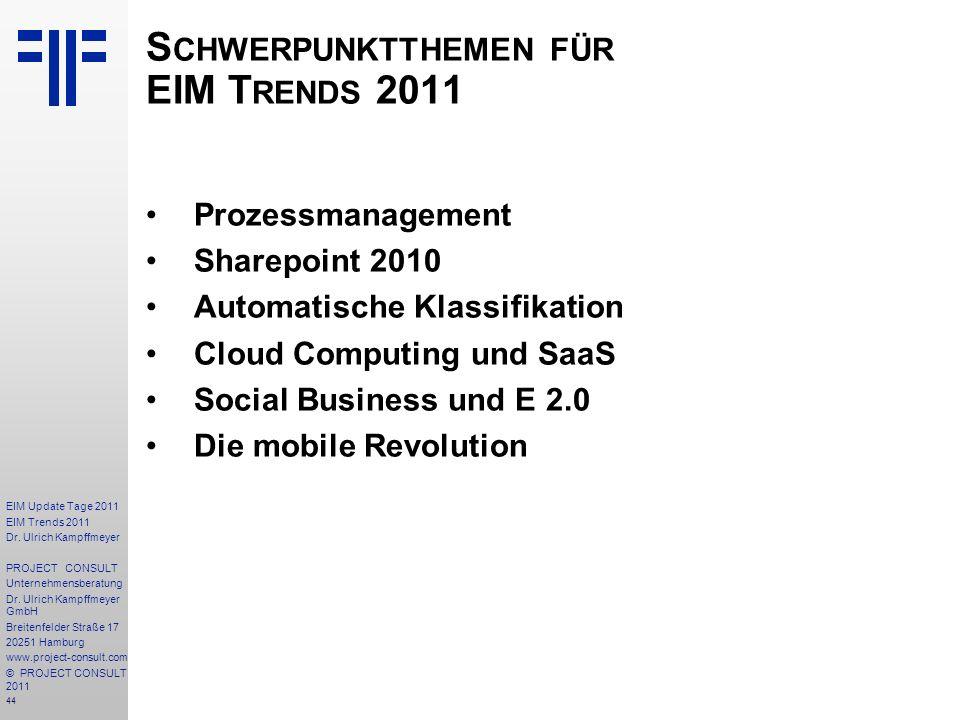 Schwerpunktthemen für EIM Trends 2011
