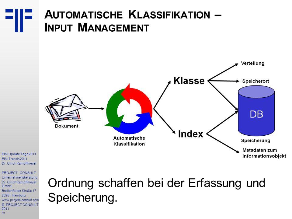 Automatische Klassifikation – Input Management