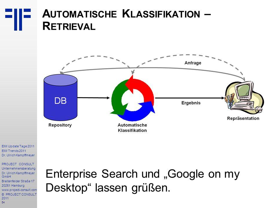 Automatische Klassifikation – Retrieval
