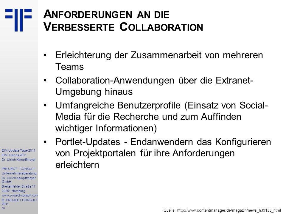 Anforderungen an die Verbesserte Collaboration