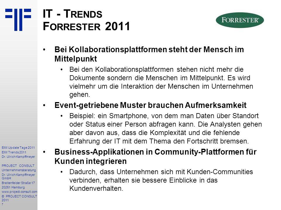 IT - Trends Forrester 2011 Bei Kollaborationsplattformen steht der Mensch im Mittelpunkt.