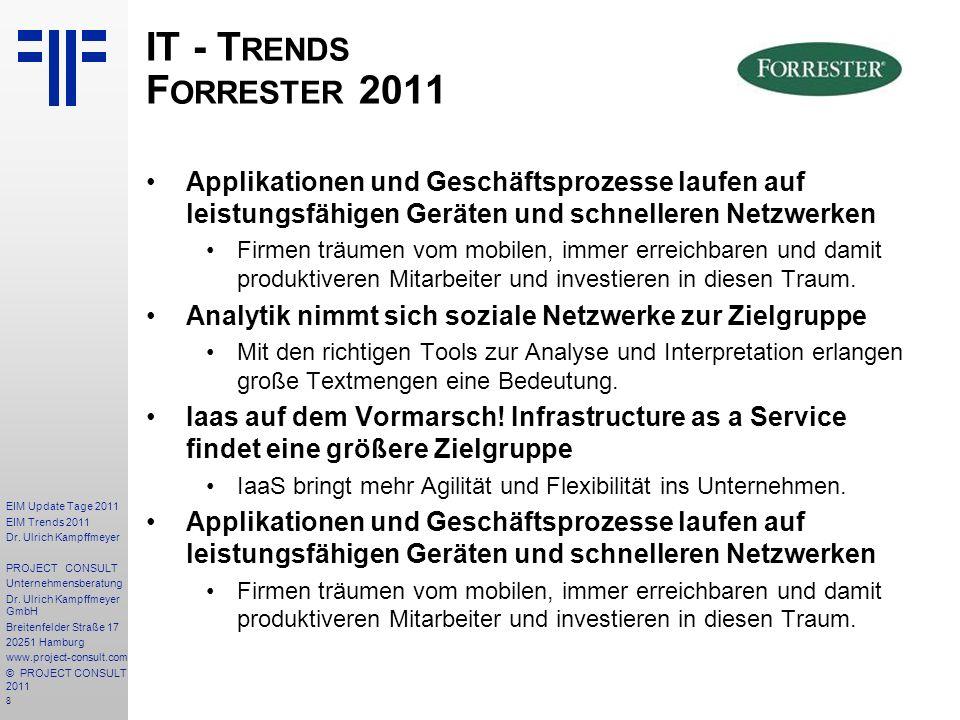 IT - Trends Forrester 2011 Applikationen und Geschäftsprozesse laufen auf leistungsfähigen Geräten und schnelleren Netzwerken.