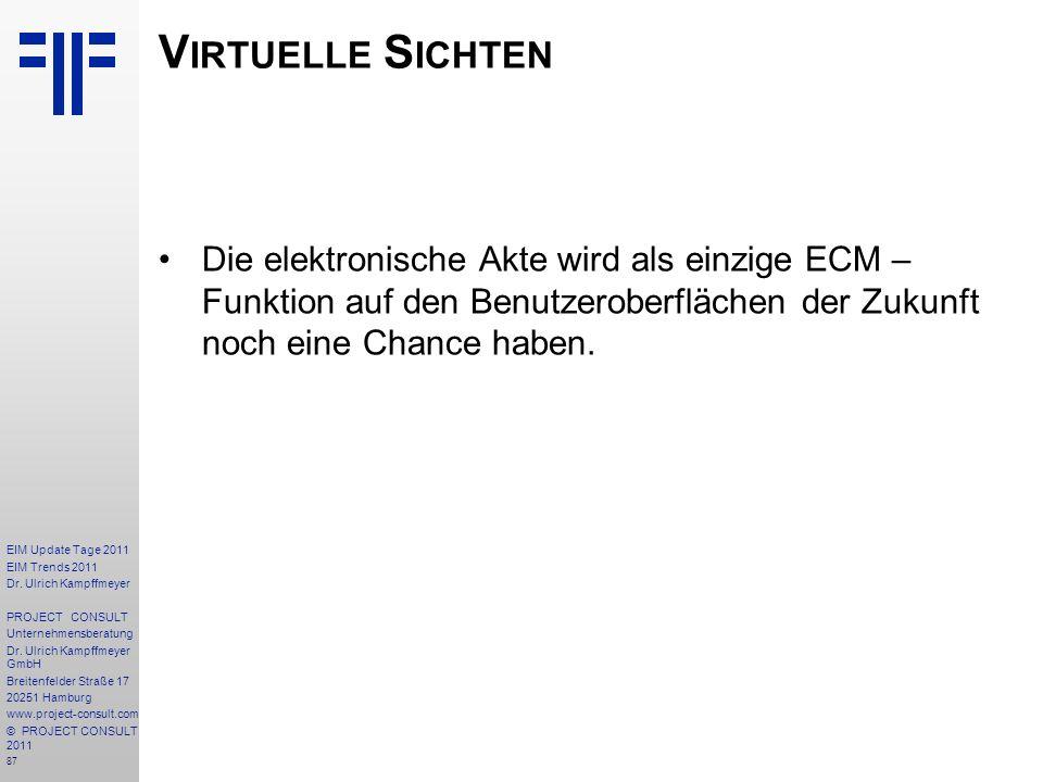 Virtuelle Sichten Die elektronische Akte wird als einzige ECM – Funktion auf den Benutzeroberflächen der Zukunft noch eine Chance haben.