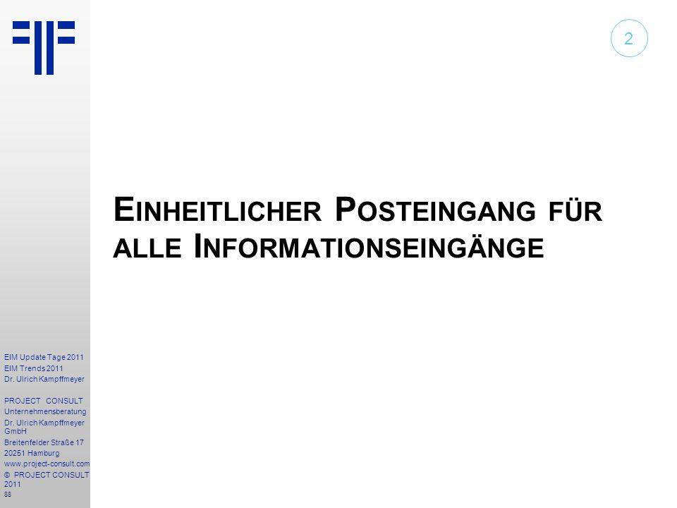 Einheitlicher Posteingang für alle Informationseingänge