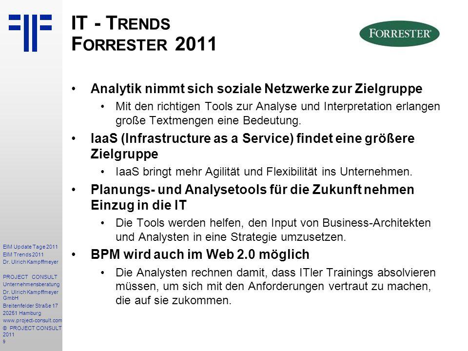 IT - Trends Forrester 2011 Analytik nimmt sich soziale Netzwerke zur Zielgruppe.