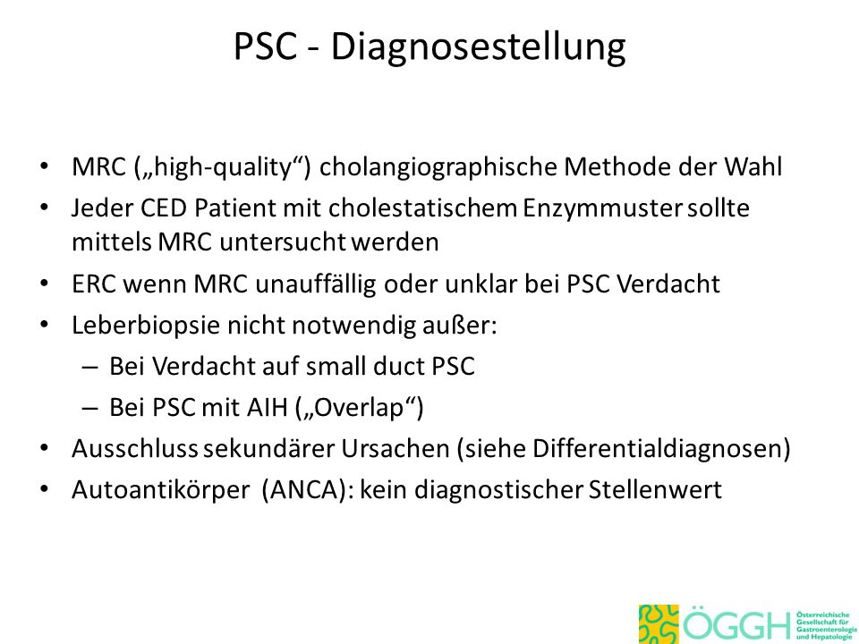 PSC - Diagnosestellung