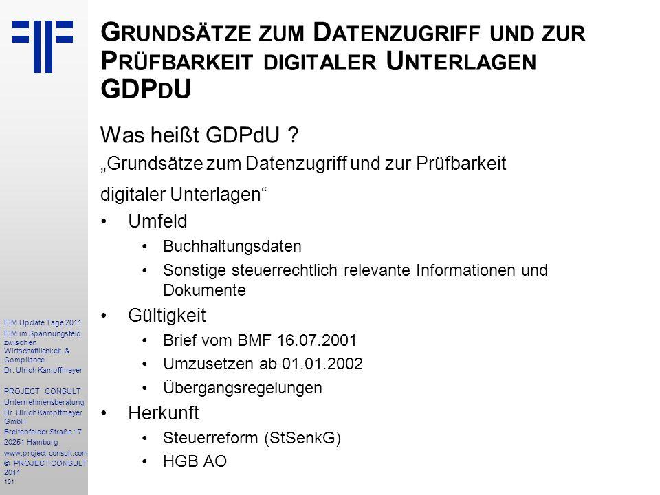 Grundsätze zum Datenzugriff und zur Prüfbarkeit digitaler Unterlagen GDPdU