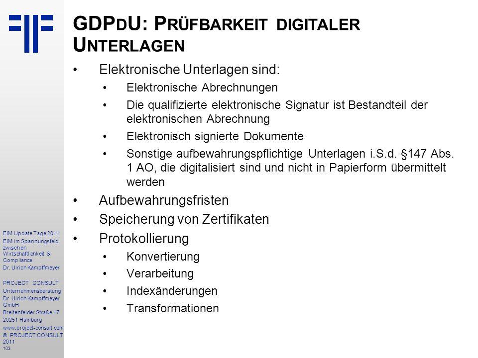 GDPdU: Prüfbarkeit digitaler Unterlagen