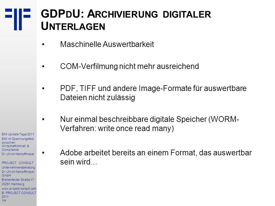 GDPdU: Archivierung digitaler Unterlagen