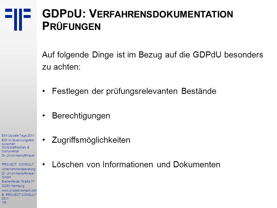 GDPdU: Verfahrensdokumentation Prüfungen