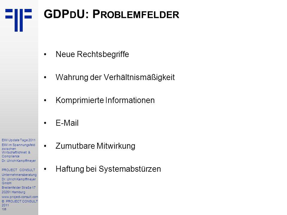 GDPdU: Problemfelder Neue Rechtsbegriffe
