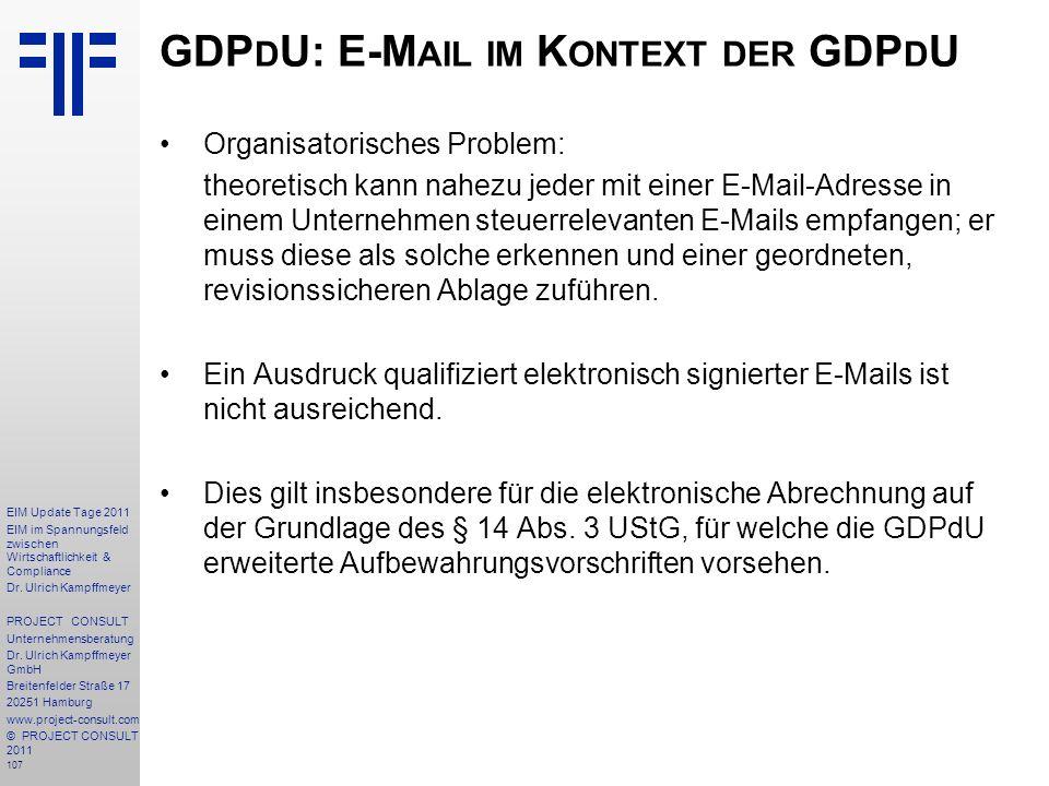 GDPdU: E-Mail im Kontext der GDPdU