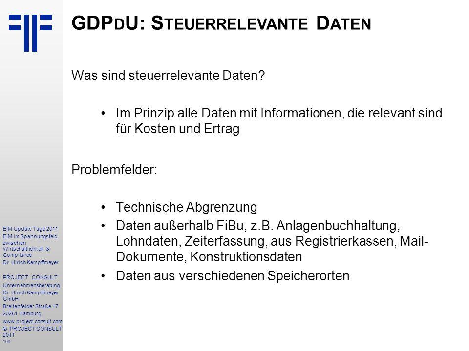 GDPdU: Steuerrelevante Daten