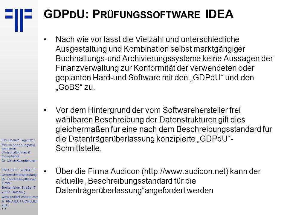 GDPdU: Prüfungssoftware IDEA