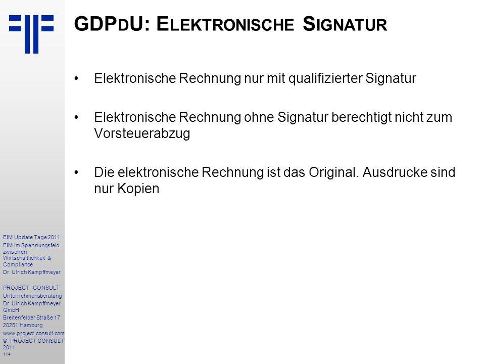 GDPdU: Elektronische Signatur