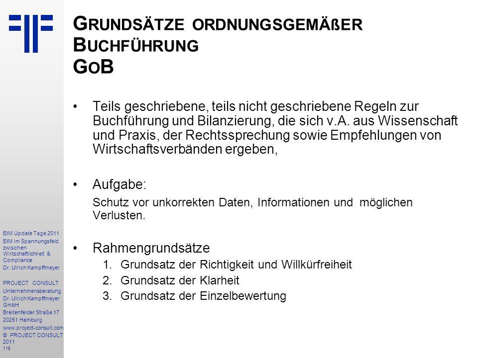 Grundsätze ordnungsgemäßer Buchführung GoB