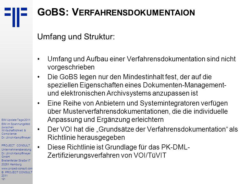 GoBS: Verfahrensdokumentaion
