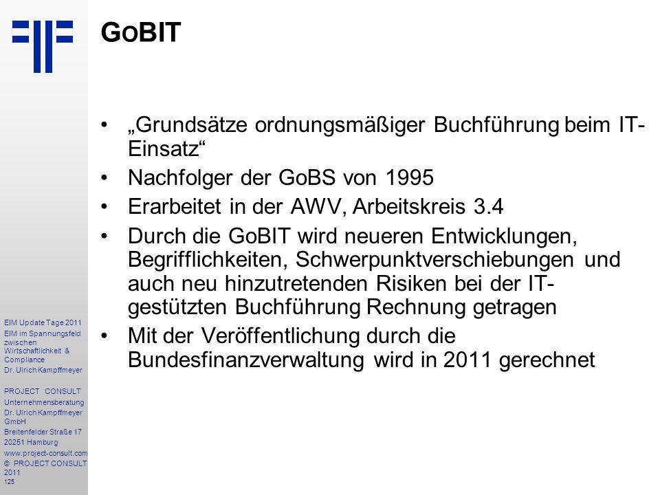 """GoBIT """"Grundsätze ordnungsmäßiger Buchführung beim IT-Einsatz"""