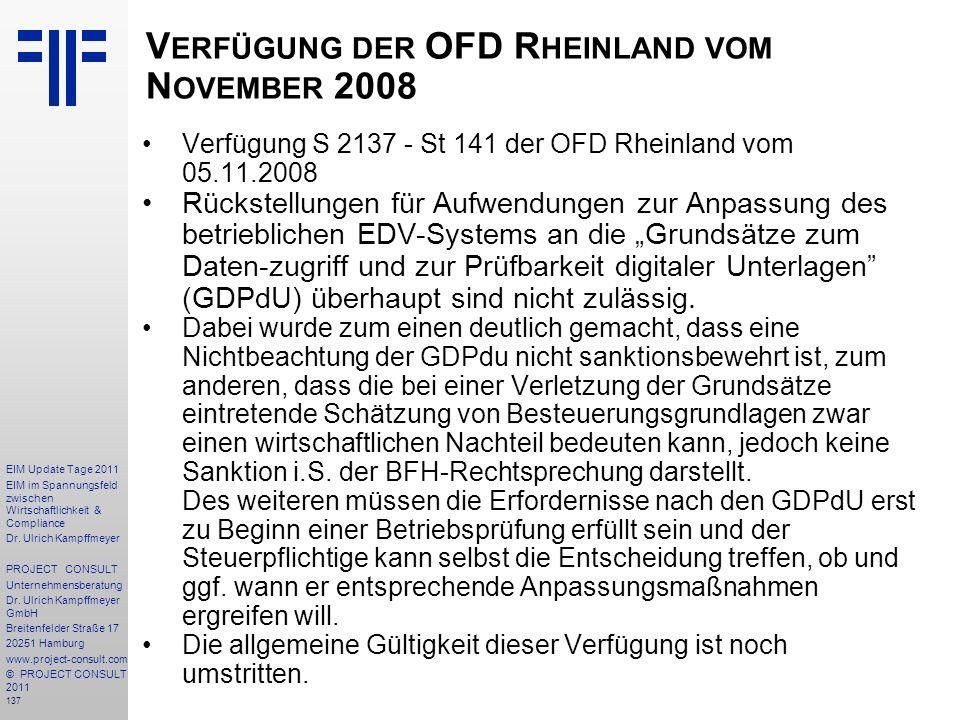 Verfügung der OFD Rheinland vom November 2008