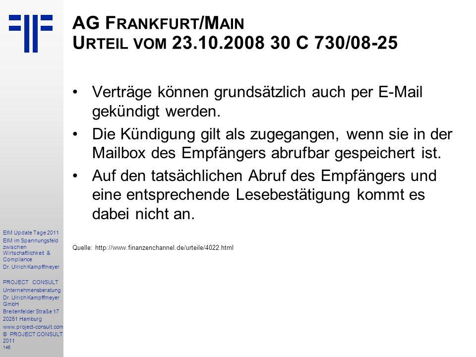 AG Frankfurt/Main Urteil vom 23.10.2008 30 C 730/08-25