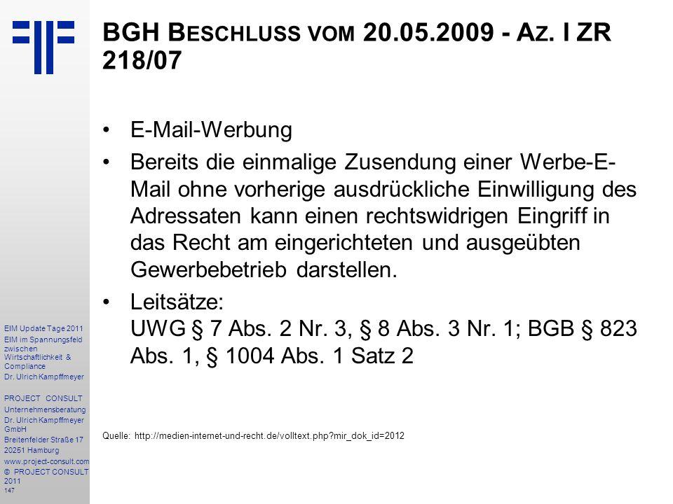 BGH Beschluss vom 20.05.2009 - Az. I ZR 218/07