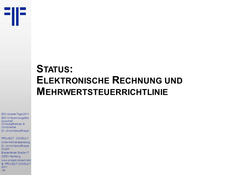 Status: Elektronische Rechnung und Mehrwertsteuerrichtlinie
