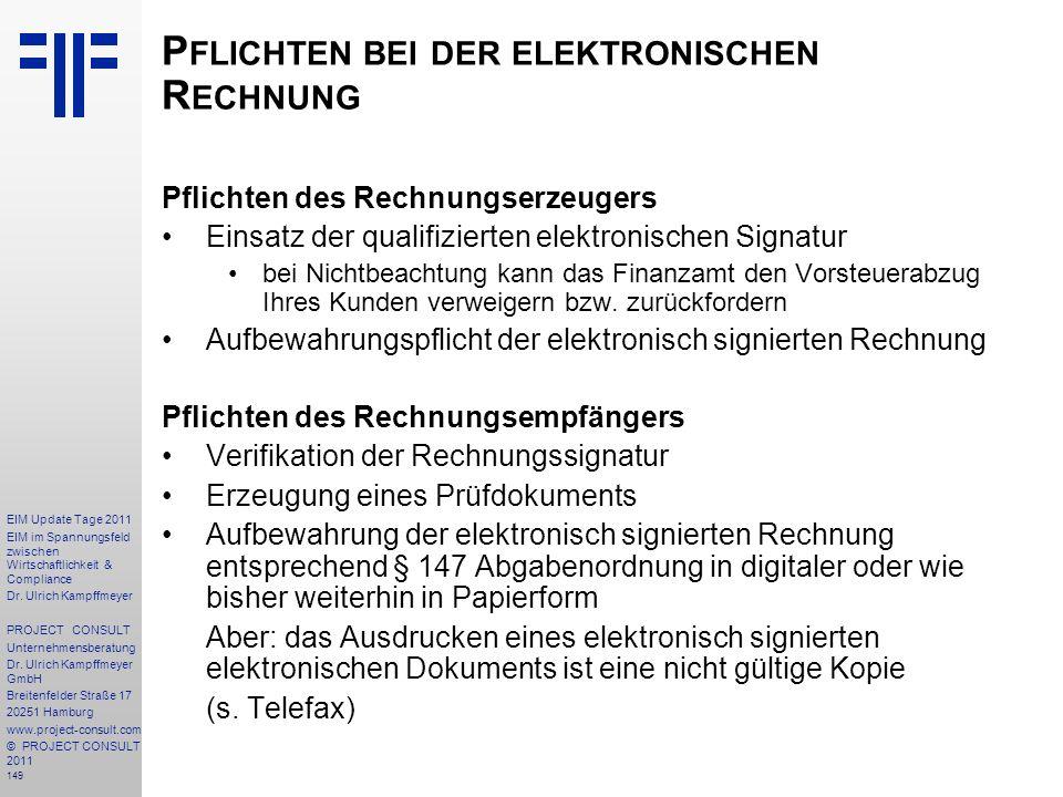 Pflichten bei der elektronischen Rechnung