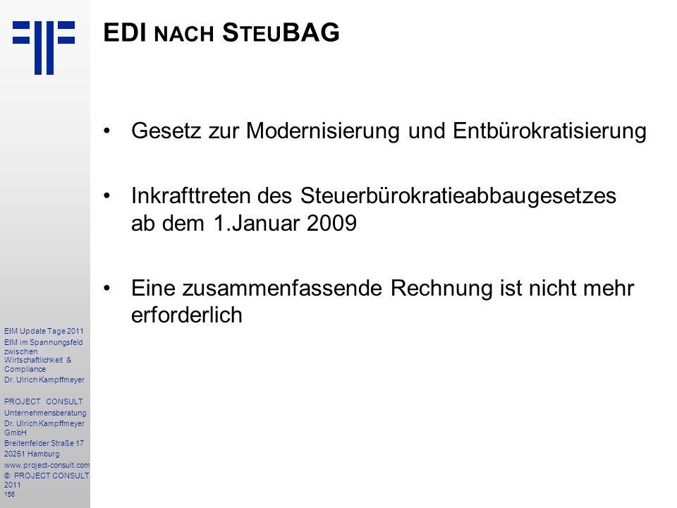 EDI nach SteuBAG Gesetz zur Modernisierung und Entbürokratisierung