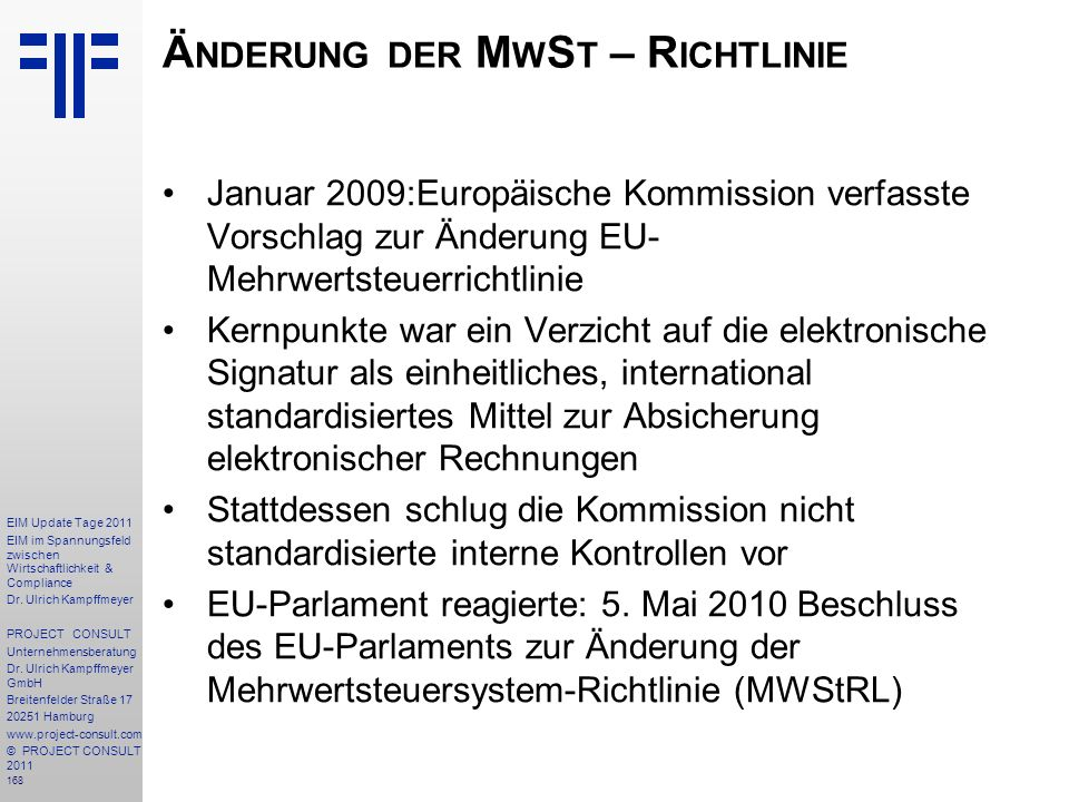 Änderung der MwSt – Richtlinie